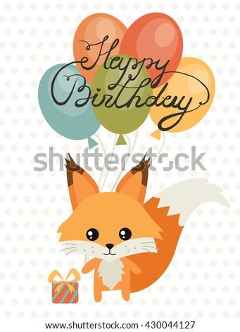 Happy Birthday Card Birthday Cute Squirrel Stock Vector Royalty