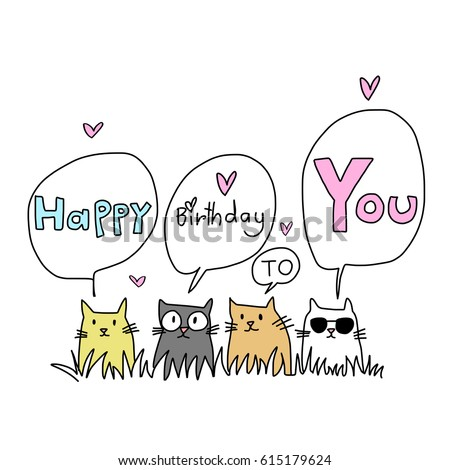 Happy Birthday Card Cat Lover Several Stock Vector 615179624
