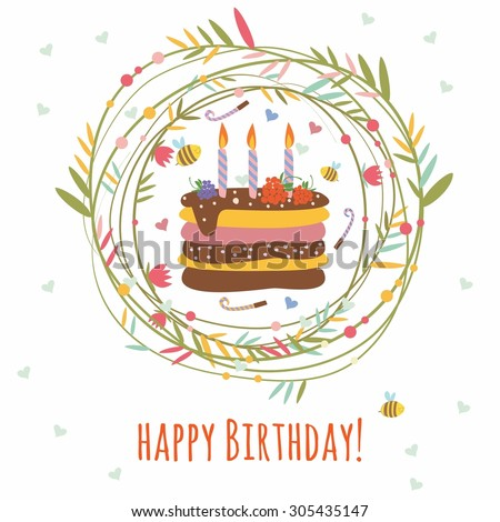 Happy Birthday Card Frame Plants Birthday Stock Vector (Royalty Free ...