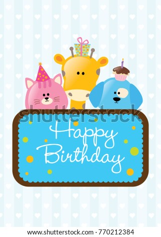 Happy birthday card greeting wishing ecard stock vector 770212384 happy birthday card greeting wishing e card for kid can be bookmarktalkfo Images