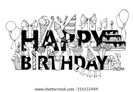 Happy Birthday Card Handdrawn Doodles Gift Vector 316155944 – Doodle Birthday Card