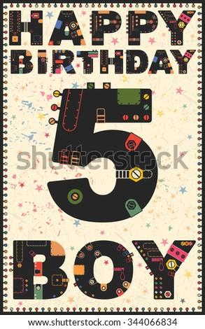 Happy birthday card happy birthday boy stock vector 344066834 happy birthday card happy birthday boy 5 year gift card vector illustration bookmarktalkfo Image collections
