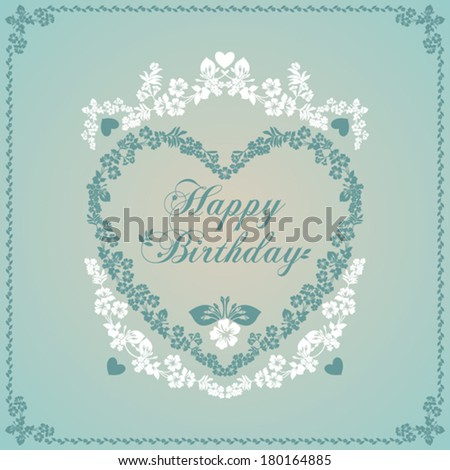 Happy birthday card in an old-style green and beige. Vector Version - stock vector