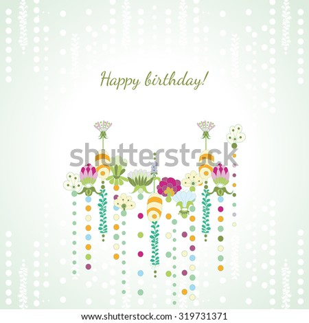 Happy birthday card in retro style.Happy birthday card design. Vector illustration