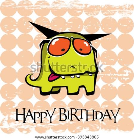 Happy Birthday card monster - stock vector