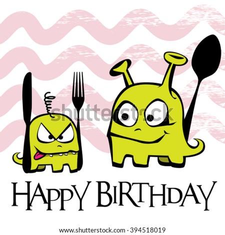 Happy Birthday card monster aliens - stock vector