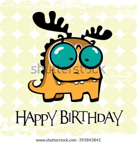 Happy Birthday card monster deer - stock vector