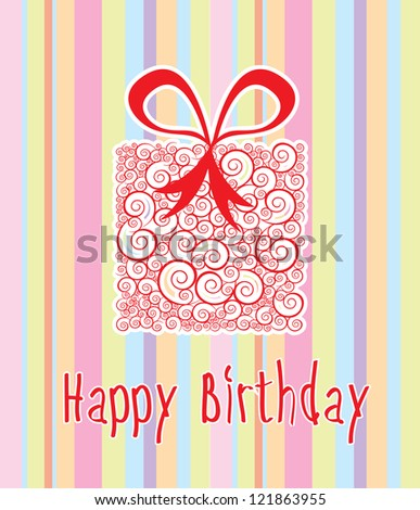 Happy birthday card over lines background vector illustration