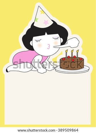 Happy Birthday Card Paper Note Character Stock Vector 389509864