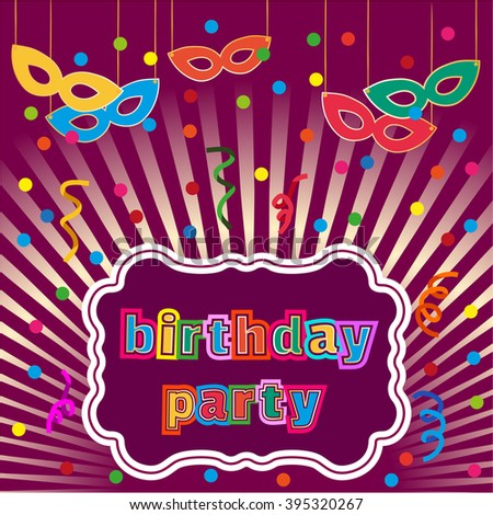 Happy Birthday Card Poster On Party Stock Vector 395320267