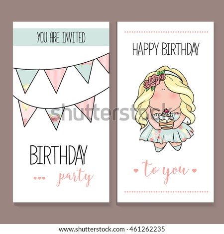 Happy fathers day hipster style card stock vector 425636536 happy birthday card set in cute doodle style little girl holding cake blue and bookmarktalkfo Choice Image