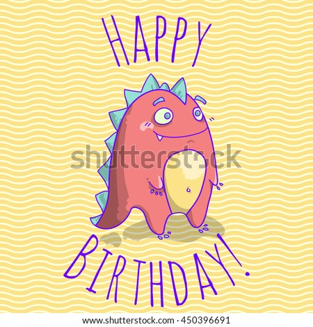 Happy Birthday card template for children with funny dinosaur character. vector illustration. Happy birthday card blank. postcard with funny character. - stock vector