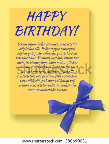 Happy birthday card template with blue bow. Yellow card. VECTOR template. - stock vector