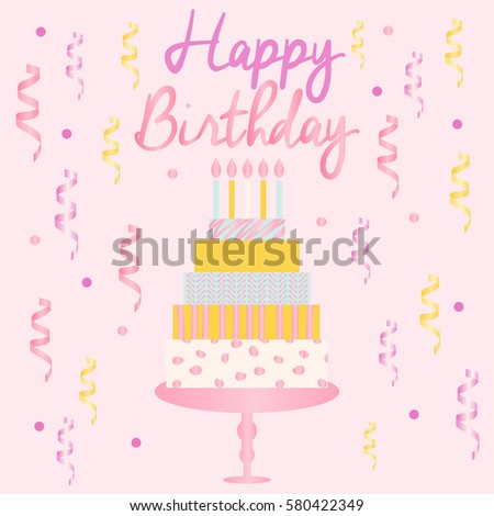 Happy Birthday Card Template Modern Geometrical Vector – Birthday Cake Card Template