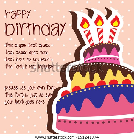 Happy Birthday Card Template With Colorful Large Layered Cake And Candle    Vector With Text Space