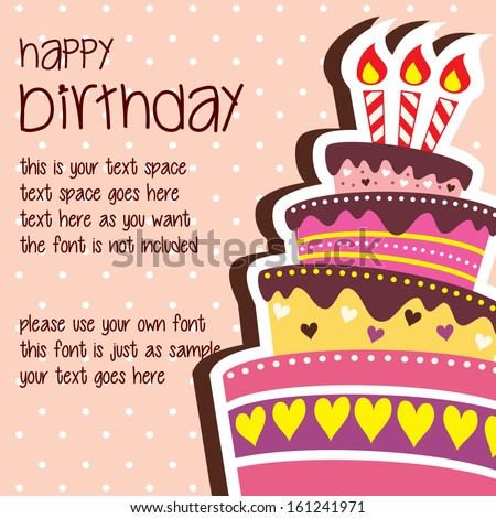 Happy Birthday Card Template Large Layered Vector 161241971 – Birthday Cake Card Template