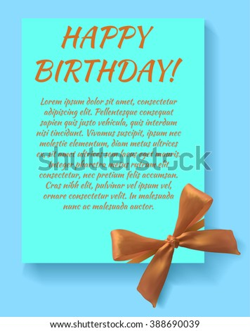 Happy birthday card template with orange bow. Light blue card. VECTOR template. - stock vector