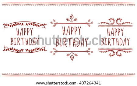 Happy birthday card templates hand drawn stock vector 407264341 happy birthday card templates hand drawn letters and vintage ornaments vector labels red bookmarktalkfo Image collections