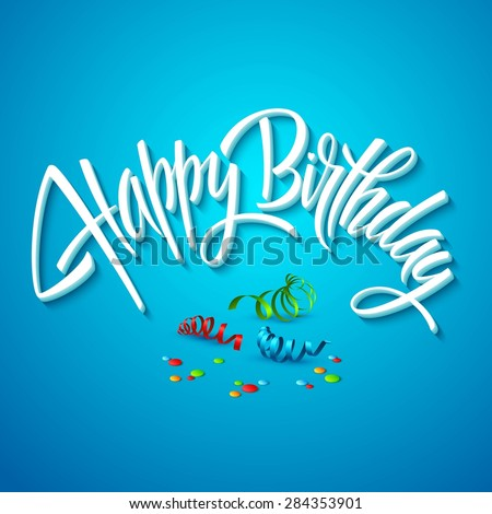 happy birthday card typography. Vector illustration EPS 10 - stock vector