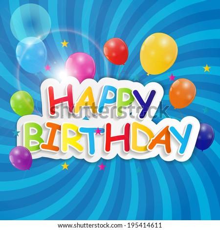 Happy Birthday Card Vector Illustration  - stock vector