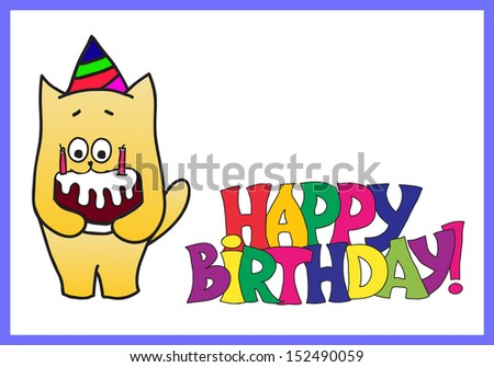 happy birthday card with a cat - stock vector