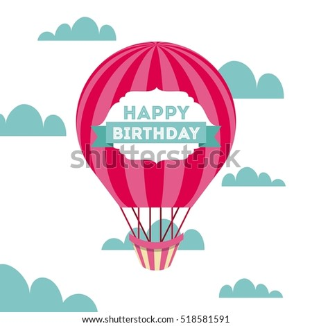 Happy birthday card air balloon icon stock photo photo vector happy birthday card with air balloon icon over sky background vector illustration bookmarktalkfo Image collections