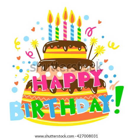 Happy Birthday Card Cake Candles Birthday Stock Vector Royalty Free