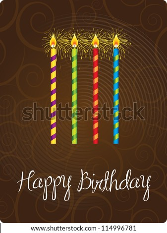 Happy birthday card with candle  over brown background - stock vector