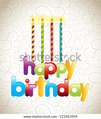 happy birthday card with candles vector illustration