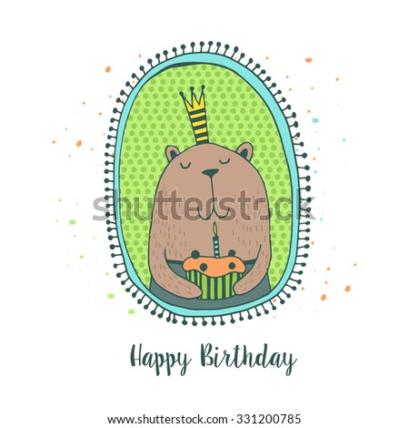 Happy Birthday card with cute animals. Kids background.  - stock vector