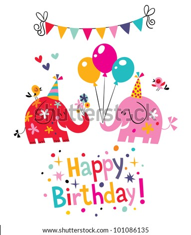 happy birthday card with cute elephants - stock vector