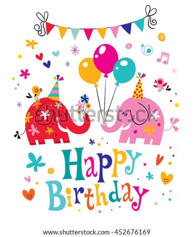 happy birthday card with cute elephants - stock vector