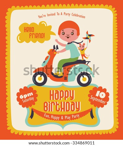Happy Birthday card with cute girl - stock vector