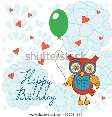 Happy birthday card cute owl character stock vector 331084967 happy birthday card with cute owl character holding balloon illustration in vector format bookmarktalkfo Choice Image