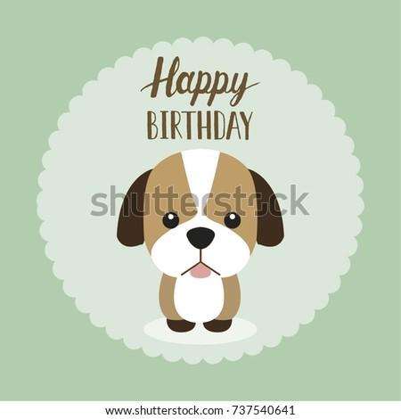 Happy Birthday Card Cute Puppy Stock Vector 737540641 Shutterstock