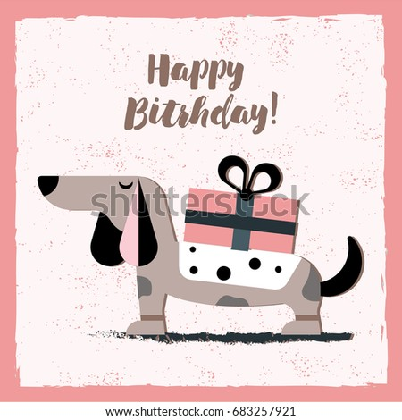Happy Birthday Card Dog Illustration Stock Vector 2018 683257921