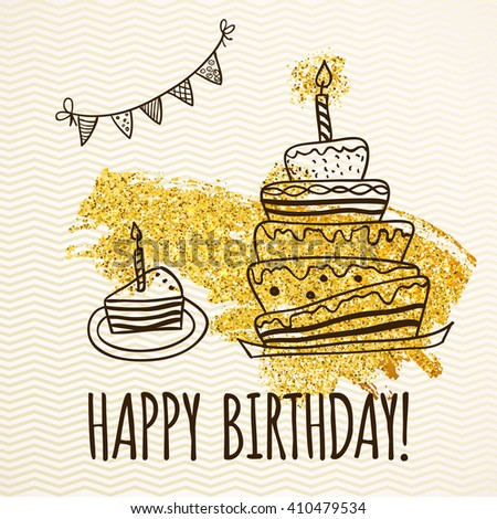 Happy Birthday Card Doodle Hand Drawn Stock Vector HD Royalty Free