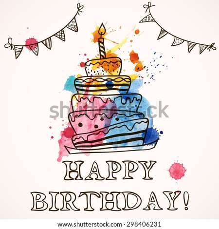 Happy Birthday Card Doodle Hand Drawn Vector 298407128 – Doodle Birthday Card