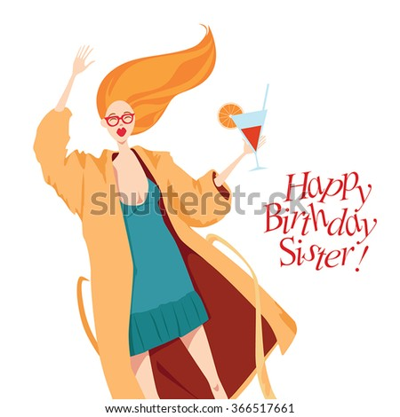 Happy Birthday card with fashionable girl - stock vector