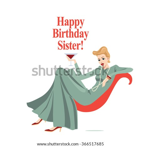 Happy Birthday card with fashionable girl in retro style - stock vector