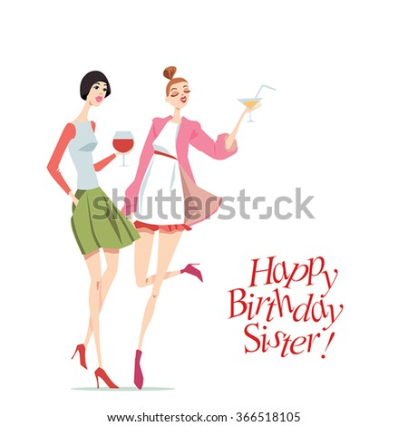 Happy Birthday card with fashionable girls, in cartoon style - stock vector