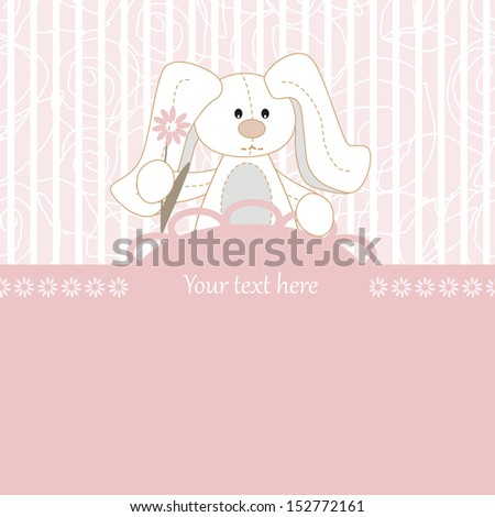 Happy birthday card with flowers Bunny - stock vector