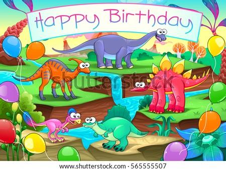Happy birthday card funny dinosaurs vector stock vector 565555507 happy birthday card with funny dinosaurs vector cartoon illustration bookmarktalkfo Images