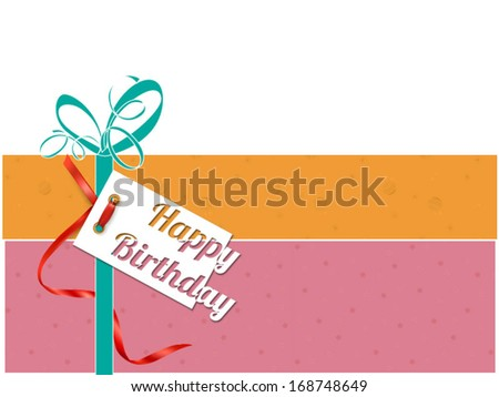 Happy birthday card with gift box - Vector format