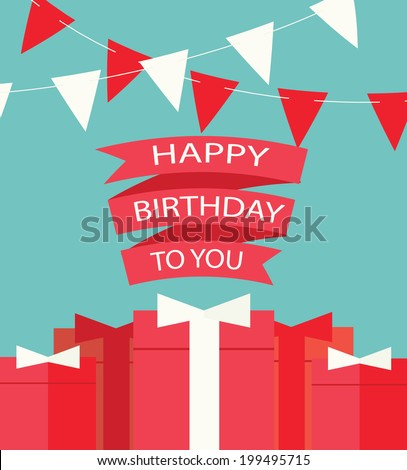 Happy Birthday card with gifts, vector illustration - stock vector