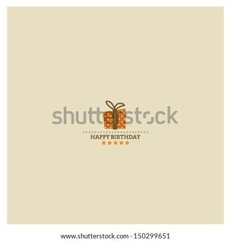 Happy Birthday card with holiday polka dot gift box and stars - stock vector