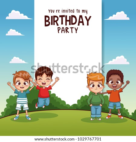 Happy birthday card kids stock vector 1029767701 shutterstock happy birthday card with kids bookmarktalkfo Gallery