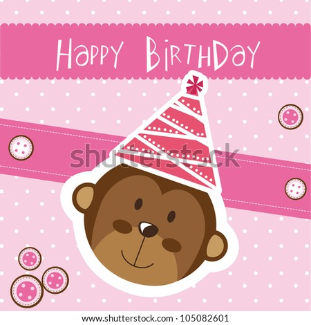 happy birthday card with monkey, pink. vector illustration - stock vector