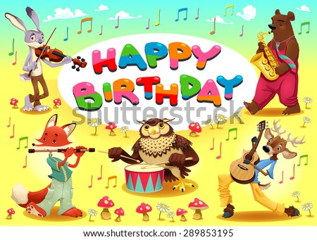 Happy Birthday card with musician animals. Cartoon vector illustration with frame in A4 proportions. - stock vector