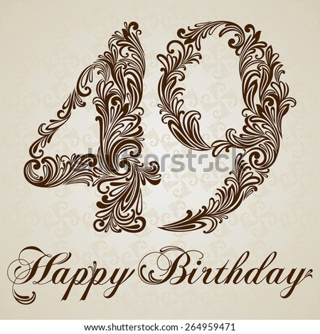 Happy birthday card with number Forty-nine. Vector Design Background. Swirl Style Illustration. - stock vector